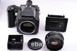 Near Mint Pentax 645 Camera Body A 75mm f/2.8 Lens 120 Film Back From JAPAN Cap