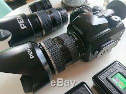 Pentax 645n Medium Format Film Camera with 2 Pentax AF 645 Lenses and 3 Film Backs